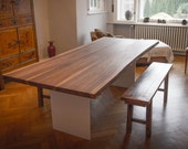 DESIGNER WALNUT TABLE, Solid Walnut Slab Top,  On Steel T,Plate Legs, Custom Handmade Furniture