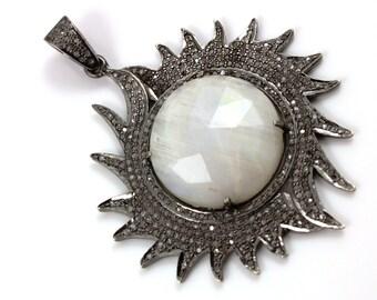 Pave diamond Pendant, Pave Rainbow Moonstone Pendant, Diamond Moonstone Charm, Pave Art Deco, Pave Connector, Oxidized Silver. (DCH/PDT/505)