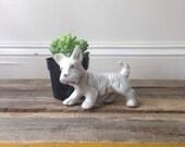 Dog Figurine White Scottie Iridescent Made in Japan Sad Scottie Dog Figurine