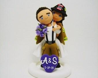 Firefighter custom wedding cake topper
