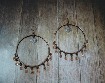 Buy 2 Get 1 Free Earrings, Bronze Circle Earrings, Simple boho chic bohemian gypsy tribal belly dance, Mothers day gift's for mom