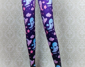 Graveyard Ghosts Printed Tights Fairy Kei Pastel Goth Kawaii