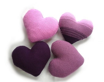 Heart Pillow Covers, Set of 4, Crochet Cushion Cases, Decorative Zipper Throw Covers,Gift Idea for Home, Plum, Dusty Rose, Pink Housewarming