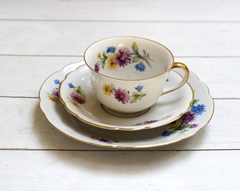 Ornate Pretty Multicolored Floral on White- Teacup and Saucer Trio Set - Vintage German Porcelain Teacup Saucer and Cake Plate Gold Edge