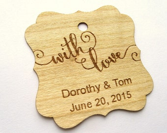 With Love Tag, Thank You Wedding Tags, Gift Tags, Wedding Favor Tags, Wood Tags, Shower Favor Tags, Wood Hang Tags, Personalised tags