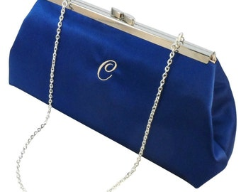 Personalized Gifts For Her, Winter Accessories Gift Ideas, Bridesmaid Gift Clutch Royal Blue And Champagne Monogram Bridal Clutch, Weddings