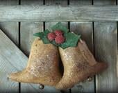 Primitive Rusty Jingle Bells and Holly Door Hanger, Christmas Decor
