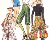 DISCO 70s  Gauchos Culottes High Waist Knickers Harem Pants Shorts Pattern SIMPLICITY 9397 Waist 25.5 Vintage Sewing Pattern UNCUT