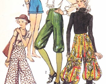 DISCO 70s  Gauchos Culottes High Waist Knickers Harem Pants Shorts Pattern SIMPLICITY 9397 Waist 25.5 Vintage Sewing Pattern UNCUT