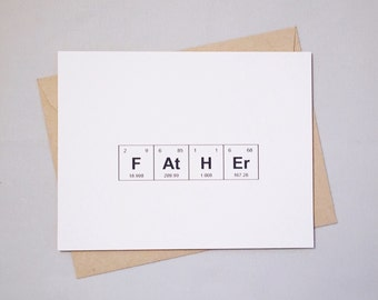 "Father's Day Periodic Table of the Elements ""FAtHEr"" / ""STeP FAtHEr"" / FAtHEr IN LaW"" Sentimental Elements Card"