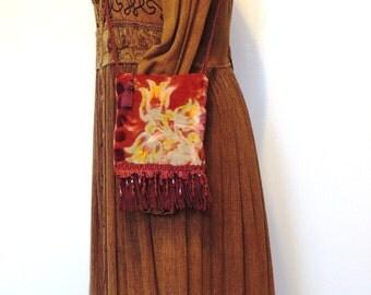 Red Velvet Bohemian bag, Festival bag, Faerie Bag, Hippie bag
