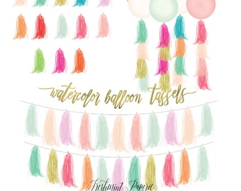 watercolor tassels clipart - watercolor garland clipart - tassel & garland clipart - balloons clipart - freshmint paperie