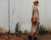 VELVET Silk Burnout FRINGE Kimono Jacket Wide Sleeve Devore Duster
