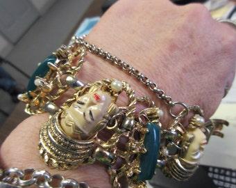 Book Piece Selro Selini Asian Princess Panel Bracelet 1950s Figural