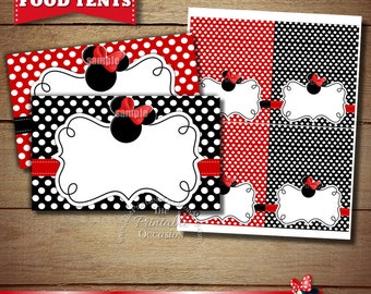 Blank Red Minnie Mouse Food Tents, Red Minnie Mouse Placecards for Birthday Party or Baby Shower, Red and Black Minnie Mouse Food Tents