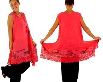 HF700KO46 tunic sleeve dress linen layered look Gr. 46 coral
