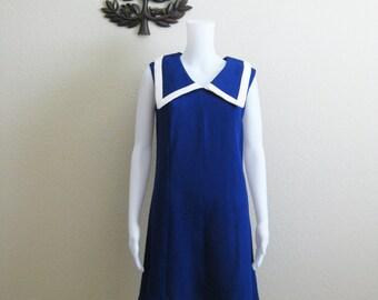 Mod Sailor Dress Blue Shift Mini Dress Medium Large
