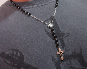 Mens Rosary Necklace Sterling Silver Black Onyx St. Benedict Gift Bag