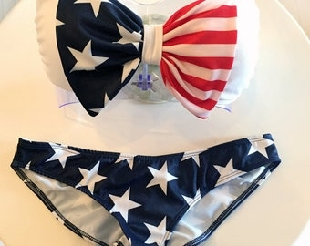 4th of July Swimsuit - Bandeau Top (removable straps optional) - Pads included