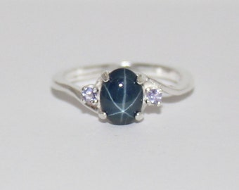 Tanzanite & Blue Star Sapphire Ring Sterling Silver Ring