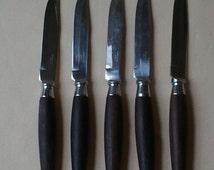 Vintage  Steak Knives ~ Rosewood & Stainless ~ Mid Century ~ 1960's ~ Flatware  ~ Japan ~ Atomic Age ~ Retro ~ KitchenWare
