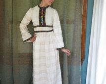 1960s Cream Floral Maxi Dress Vintage Maxi Dress Bell Sleeve 60s Embroidered Dress High Neck Gunnie Sax Style Dress Hippie Wedding Dress