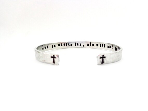 Personalized Cuff Bracelet | Custom Bracelet | Engraved Cuff Bracelet | God is within her, she will not fall, Cross Bracelet, Customizable