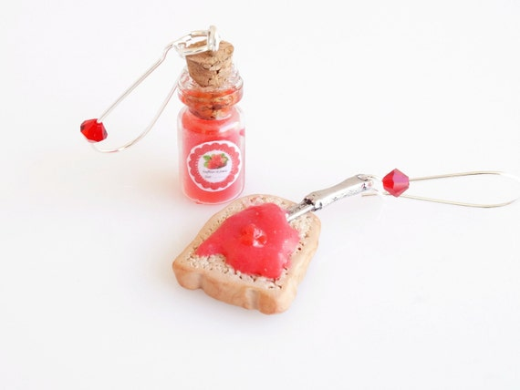 Mini Food Bread with Jam and Jar Kidney Hook Earrings, Polymer Clay Jewelry, Miniature Food,  Polymer Clay Hook Earrings, Kawaii