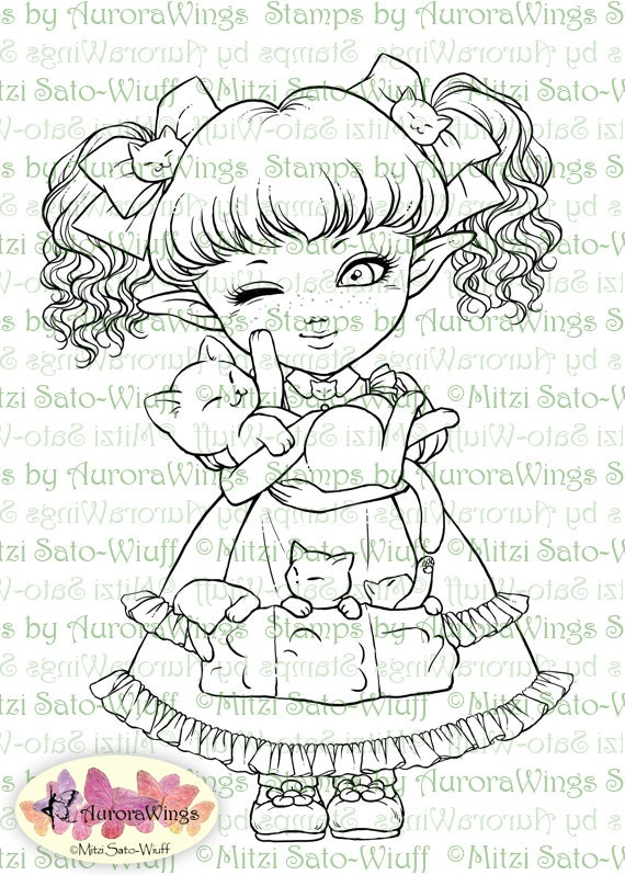 Digital Stamp - Elf Girl with Mama Cat and Kittens - Can I Keep Them? - Fantasy Line Art for Cards & Crafts by Mitzi Sato-Wiuff