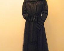 Antique Vintage 1890s Black 2 pc Full Length Formal Victorian Mourning Dress. Silk Velvet Lace Long Skirt & Fitted Blouse. Goth Wedding. XXS