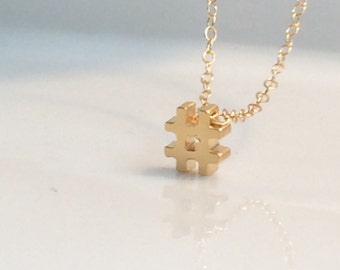 Hashtag Necklace, # gold necklace, Tiny Hash Tag Necklace, Silver Hashtag Necklace, Gold Hashtag Necklace, Hashtag charm