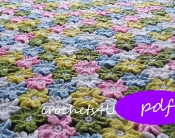 crochet pattern, flower afghan, crochet blanket pattern, baby blanket pattern, daisy, flower blanket, throw, crochet flower