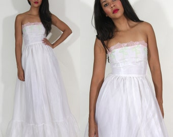 Vintage 60s White Sheer Chiffon Strapless Floral Embroidered Maxi Dress Gown Wedding