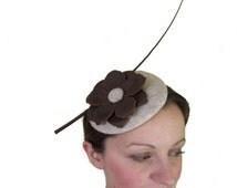 Brown Beige Fascinator Hat - Ladies Hat, Ascot, Derby Hat, Perch Hat, Womens Occasion Hat, Formal Hat