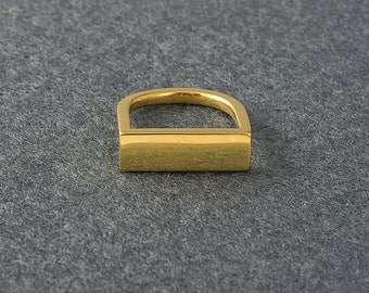 Flat Geometric Gold Ring