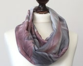 Watercolor Satin Scarf Pink Gray Batik Patterned Satin Infinity Loop Circle Scarf, Floaty Fabric, Women, Lightweight Scarf, Fast Delivery