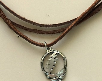 Grateful Dead Steal Your Face Pendant on Triple Leather Necklace with Dancing Bear Charm - Made to Order