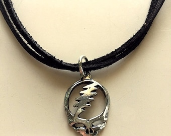 Grateful Dead Steal Your Face Double Leather Pendant Necklace - Silver or Gold