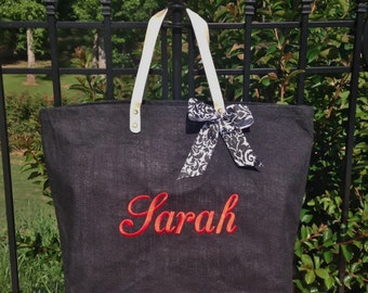 Mud Pie Solid Black Jute Tote, Reuseable Grocery Bag, Beach Bag, Carry-All, Monogrammed Tote and More!