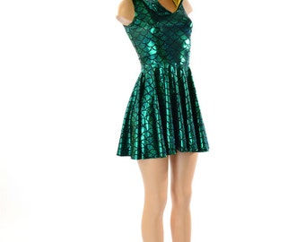 Mardi Gras Colors Green Scale Dragon Spiked Sleeveless Hoodie Skater Dress with Purple Spikes and Gold Hood Liner -151172