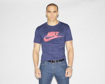 70s Nike Orange Swoosh T Shirt - 1970s Rare Nike Tshirt - Vintage Nike Tee - MZ044