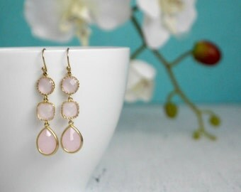 Blush Wedding Earrings Blush Bridal Earrings Blush Dangle Earrings Blush Gold Earrings Blush Dangling Earrings Blush Bridesmaid Earrings