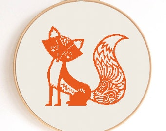 Ornament Fox Silhouette Counted Cross Stitch Pattern Instant Download