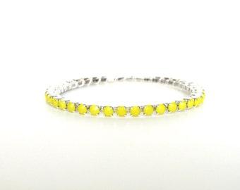 Bright Yellow Bangle Bracelet; Lemon Yellow Jewelry; Neon; Silver Bangle; Stacking Bangle; Modern