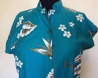 Vintage Hawaiian Tea Timer blouse - XL