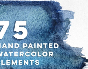 Hand Painted Watercolor Clip Art Elements in Aqua, Mint, Cobalt, Teal and Royal Blues