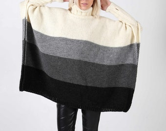 Instant Download PDF pattern. Hand knitted one size multicolour poncho with sleeves. Digital pattern from Ilze Of Norway. (0116)