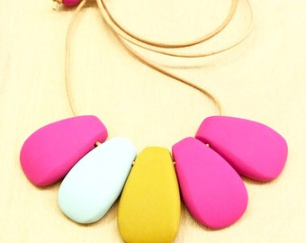 Fun hot pink, mint & mustard polymer clay bib necklace