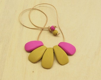 Fun hot pink & mustard polymer clay bib necklace