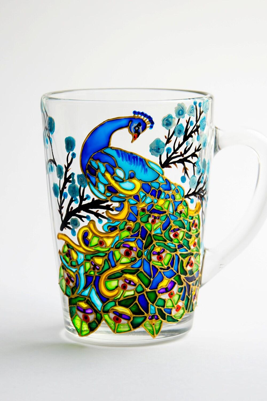 Peacock coffee mug hand painted peacock custom mug for How to paint a mug